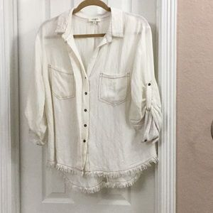 Umgee Button Down Blouse cream